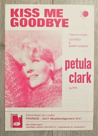Vintage 1968 Pop Sheet Music Petula Clark - Kiss Me Goodbye Recorded For Pye