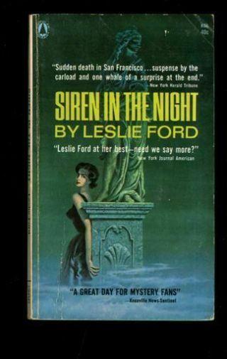 Mystery Paperback.  Leslie Ford: Siren In The Night.  Popular Library K68.  398928