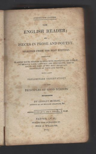 English Reader,  Lindley Murray,  1822,  Published In Exeter,  Nh,  Language Improvement