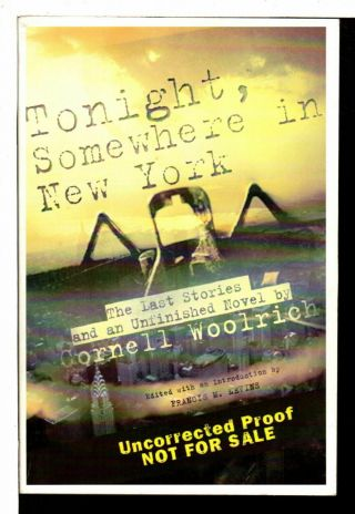 Cornell Woolrich Tonight Somewhere In York The Last Stories & An Unfinished