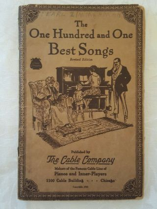 Vintage 1925 The One Hundred And One Best Songs Book The Cable Company Chicago