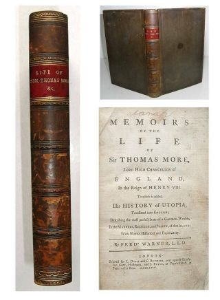 1758 Sir Thomas More Utopia Early Science Fiction Utopian Society Full Leather