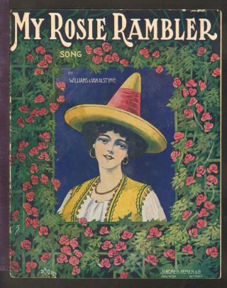My Rosie Rambler 1908 Pretty Girl Song Version Vintage Sheet Music Q04