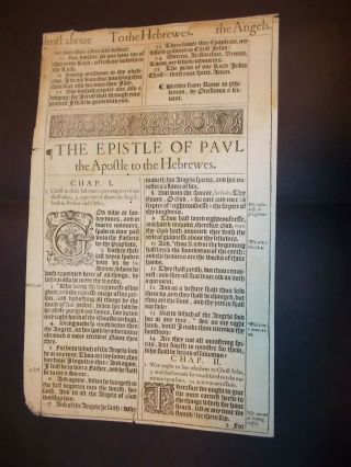 1611 King James Bible - 2 Title Pages - Hebrews And Philemon - 1st Ed.  - 1st Printing