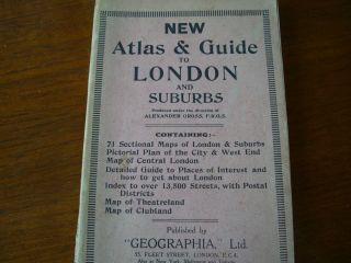 Geographia The Authentic Atlas And Guide To London And Outer Suburbs C 1940s