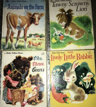 4 Vintage Little Golden Books Rabbit Bears Animals Lion