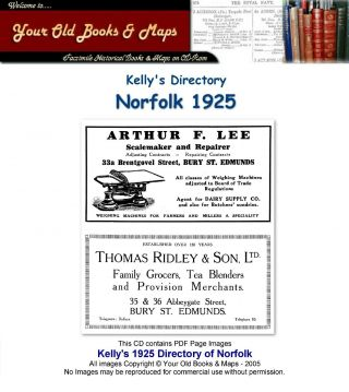 Kellys Directory Of Norfolk 1925 Cdrom