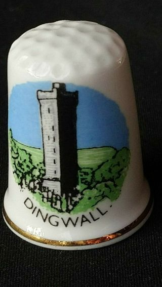 Dingwall Scotland Macdonald Monument Fighting Mac Bone China Souvenir Thimble