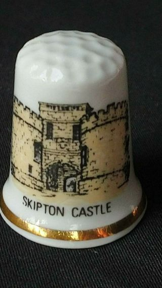 Skipton Castle North Yorkshire 1090 Robert Romille Bone China Souvenir Thimble