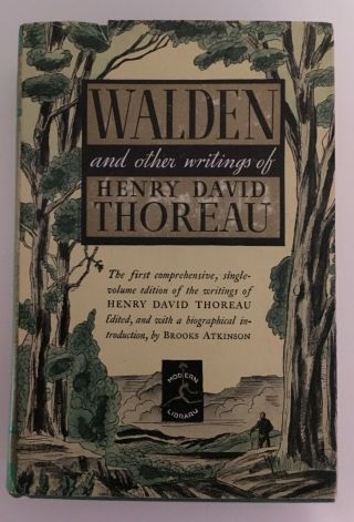 Walden And Other Writings,  Henry David Thoreau,  1950 Dust Jacket Antique Book