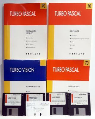 Borland Turbo Pascal 7.  0 Turbo Vision Books And Floppy Disks