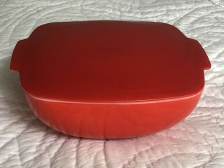 Vintage Pyrex 525b Red 2 1/2 Quart Covered Casserole Dish With Lid