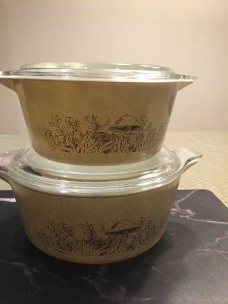 Vintage Pyrex Casserole Bowls With Lids Forest Fancies Mushroom 475 - B And 474 - B