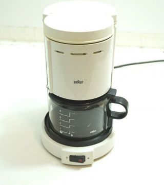 Vintage Braun 4 Cup Coffee Maker Machine Type 3075 / Kf12 White 750w W/ Carafe