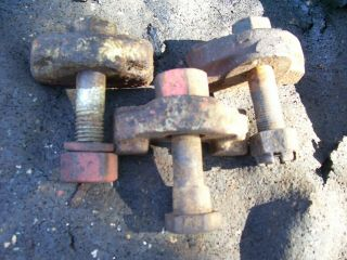 Vintage Allis Chalmers B & C Tractor - 3 Rear Wheel Clamps & Bolts