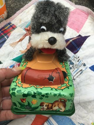 Vintage Modern Toys Dog Tin Toy Mohair Dog Battery 1950s Metal Toy Cute Japan