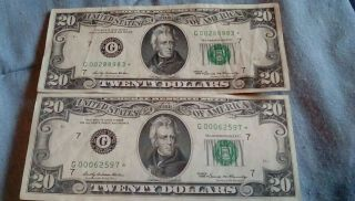 1969 $20 Star Note Bill Currency Jackson Vintage Money Chicago