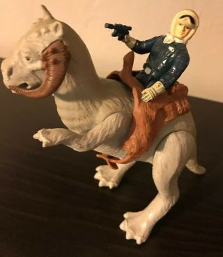 "Vintage Star Wars 1980 Tauntaun "" Closed Belly "" W/saddle And Han With Gun"