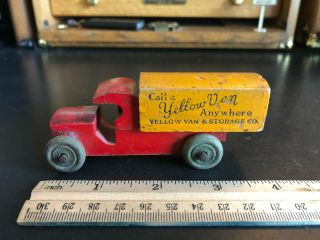 Yellow Van And Storage Co.  - Vintage Wood Toy Truck