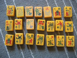 Vintage 21 Assorted Mah Jongg Tiles