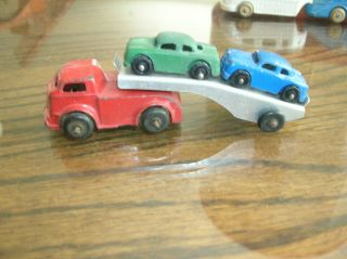 Vintage Barclay Toy Car Carrier Auto Transport W/ 2 Cars