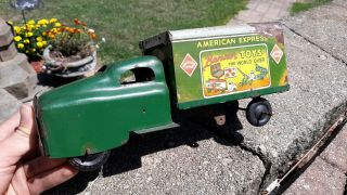 Vtg 1950s Pressed Steel Truck Banner Toys No.  782 American Express Tin Litho