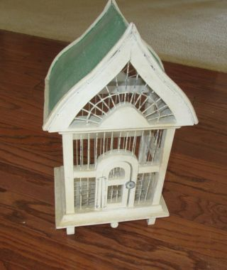 "Vintage 18 "" Rustic Wood And Wire Decorative Bird Cage With Tin Roof"