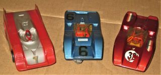3 1960s Vintage 1/32 Can Am Racer Slot Cars W/chassis W/motors