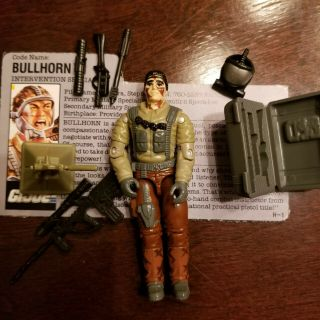 Vintage 1990 Gi Joe Bullhorn Intervention Specialist 100 Complete W/file Card