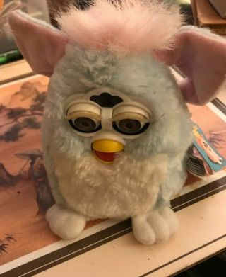 Vintage 1999 Tiger Electronics Furby Babies Light Blue White Baby