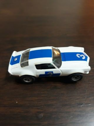 Vintage Afx Trans Am Camaro Ho Slot Car.  White And Blue.