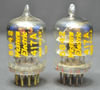 Western Electric We - 417a 5842 Nos Perfect Matched Pair - Close Codes From 1950s