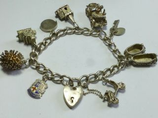 Vintage Sterling Silver Charm Bracelet With And 9 Charms 48g 20cm Cb2