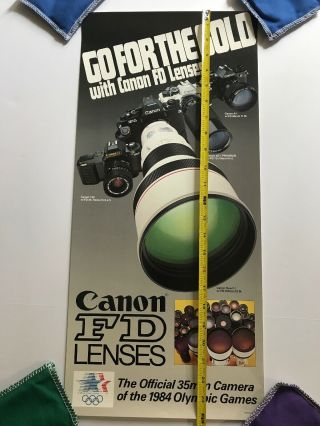 Vintage Canon Fd 35mm Lenses 1984 Olympics Poster.  24in