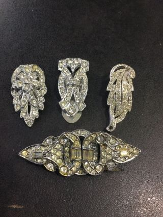 Vintage Dress Clips And Duette Clip Brooch