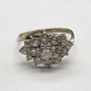 Vintage Ladies 9ct Solid Gold C Z Cluster Flower Front Ring Size J