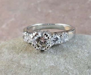 Vintage 925 Sterling Silver White Cz Cubic Zirconia Ring 4.  6 Grams Size 8 208