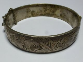 Vintage Sterling Silver Floral Engraved Bangle Bracelet 33g 7cm Ba2