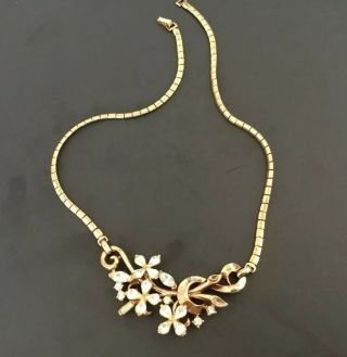 Vintage Signed Trifari Pat.  Pend Choker Necklace Gold Tone Rhinestone Flowers