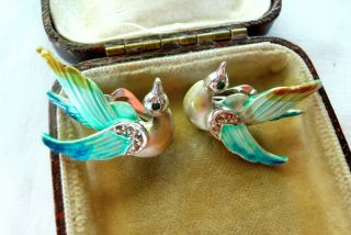 Vintage Jewellery Enamel Marcasite Bird In Flight Earrings Clip On Lovely