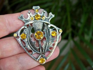 Large Vintage Signed Cp Jewellery Celtic Luckenbooth Thistle & Crown Brooch Pin