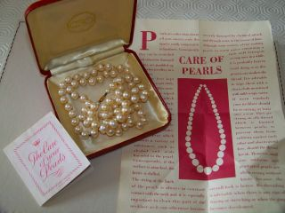 Boxed Vintage Ciro Jewelery 9ct Gold Clasp Elegant Long Pearl Cocktail Necklace