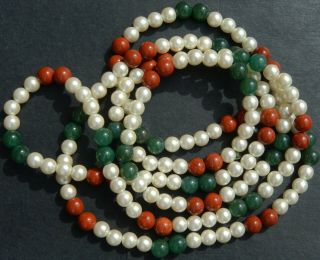 Huge Vintage Jade,  Jasper And Pearl Necklace