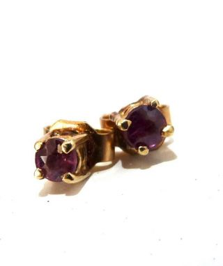 Vintage 9ct Gold Amethyst Stud Earrings Little 9k Stud Earrings Scrap Gold Wear,