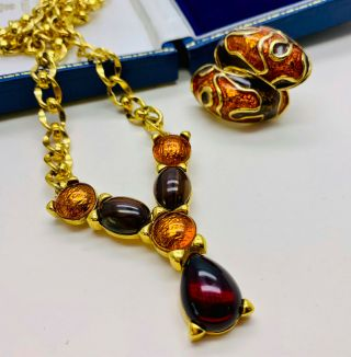 Vintage Jewellery Signed Monet Garnet/amber Cabochon Necklace/earrings