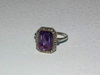 Vintage Silver Cocktail Ring Purple Amethyst With Marcasite Stone Size T