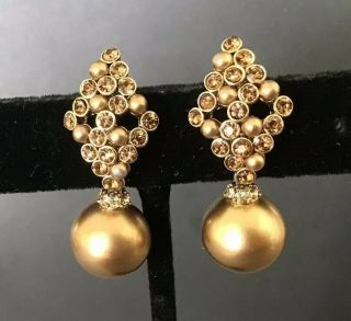 Vintage Signed Carolee Champagne Rhinestone Pearl Gold Tone Post Dangle Earrings