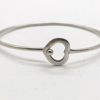 Vintage Solid Silver Sterling 925 Love Heart Clasp Catch Ladies Bangle Bracelet