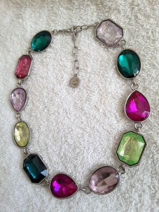 Vintage Signed Graziano Large Necklace Statement Tutti Frutti Chicklet Silver.