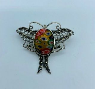 A Vintage Solid Silver And Marcasite Dragon Fly Brooch,  Millefiori Style Body.